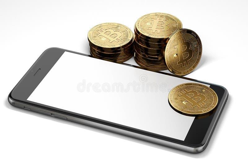 Smartphone-Anzeige mit dem Raum für gelegentliches Design umgeben durch Bitcoin-Stapel Lokalisiert auf Weiß mit copyspace vektor abbildung