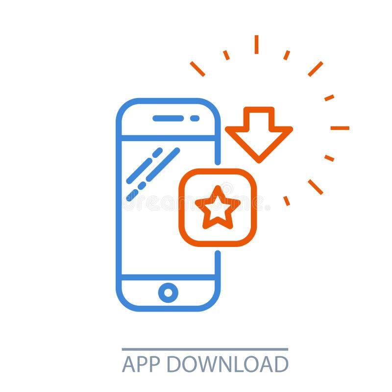 Smartphone app da transferência - ícone móvel da compra da aplicação ilustração do vetor