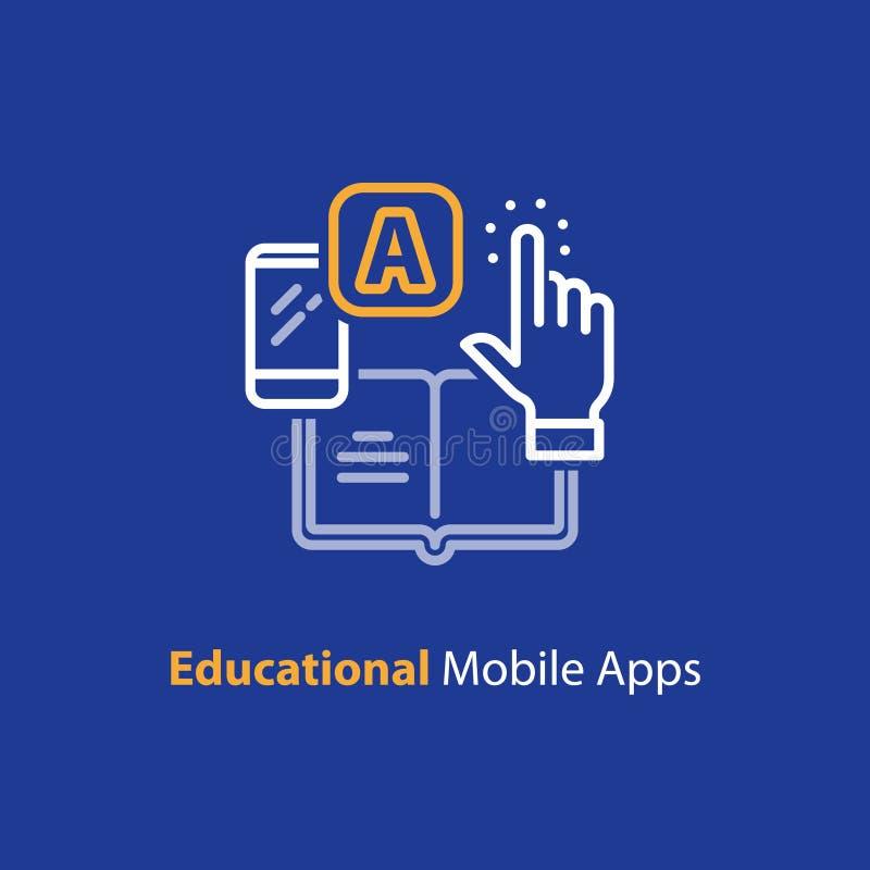 Smartphone app dla uczyć się, edukacyjny mobilny zastosowanie, kreskowa ikona royalty ilustracja