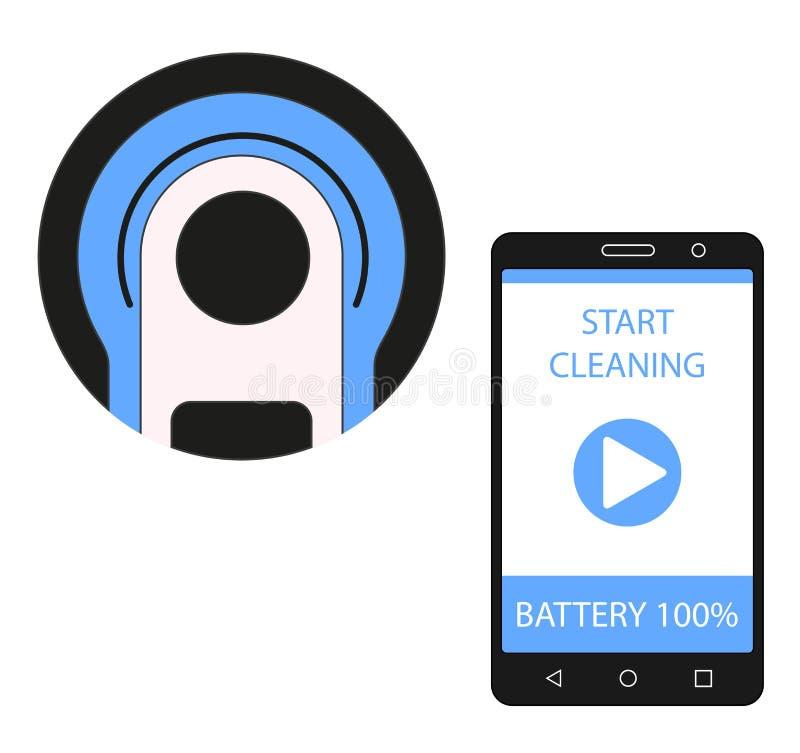 Smartphone app för kontroll av robotdammsugare vektor illustrationer