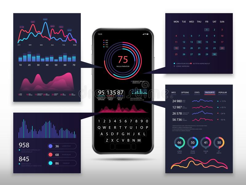 Smartphone app infographic with 3d phone, marketing charts and diagrams. Vector eps10. Marketing charts on phone mobile illustration royalty free illustration