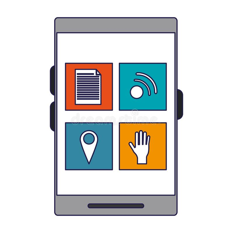 Smartphone app menu mobilne niebieskie linie ilustracja wektor