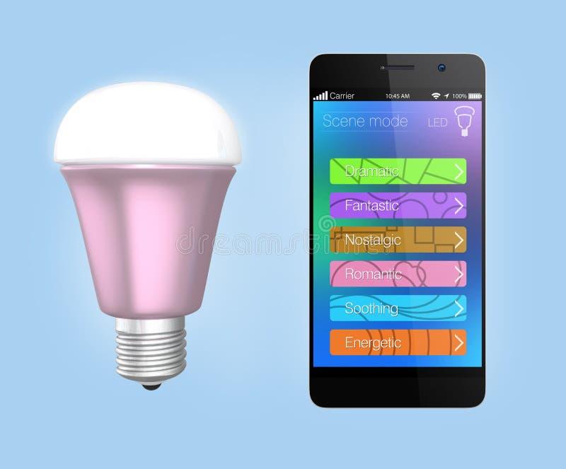 Smartphone app para el control de la iluminación del LED ilustración del vector