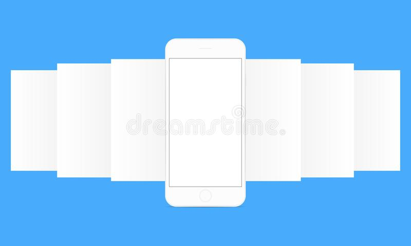 Smartphone with app screens. Smartphone with app screen mockup. Blank wireframing screens. Web-design concept - template to create and showcase your mobile ui vector illustration