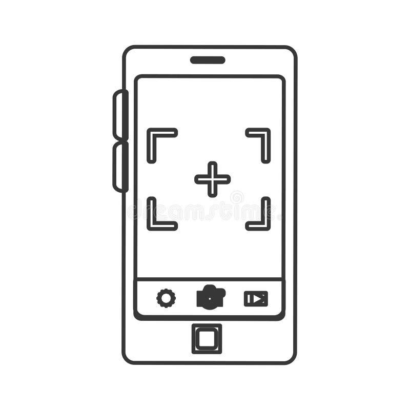 Smartphone-apparaat met fotografische app stock illustratie