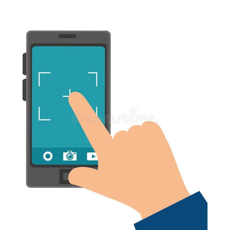 Smartphone-apparaat met fotografische app royalty-vrije illustratie