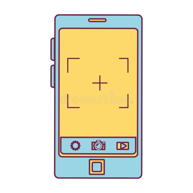 Smartphone-apparaat met fotografische app vector illustratie