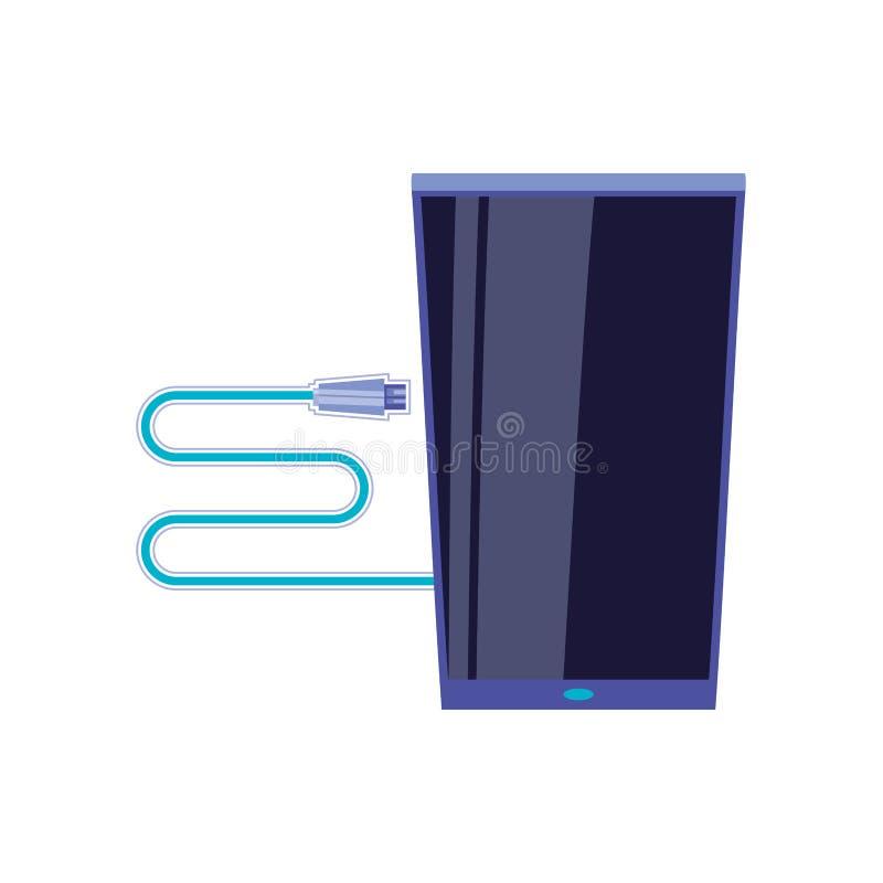Smartphone-apparaat met laderskabel vector illustratie