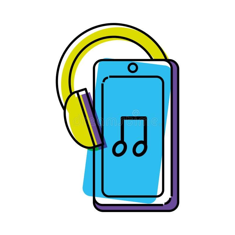 Smartphone-apparaat met oortelefoon stock illustratie