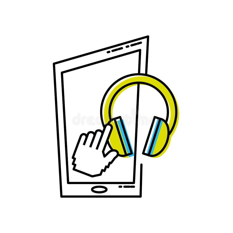 Smartphone-apparaat met oortelefoon royalty-vrije illustratie