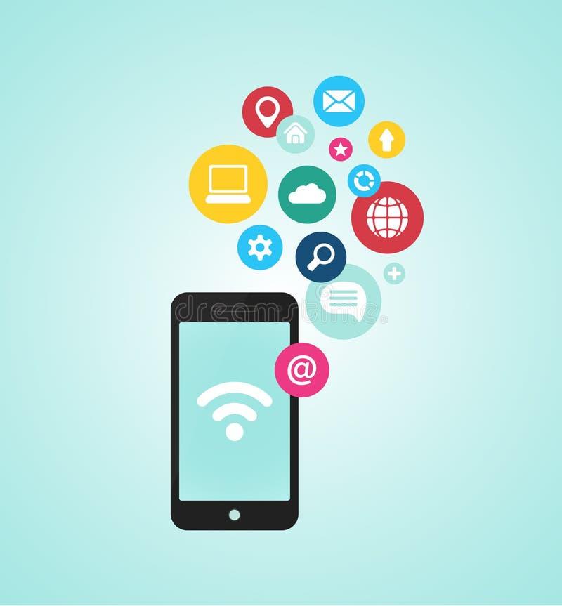 Smartphone-apparaat met toepassingen (app) pictogrammen stock illustratie