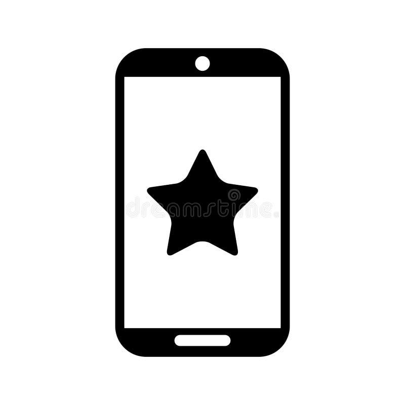 Smartphone apparat med den stjärna isolerade symbolen royaltyfri illustrationer