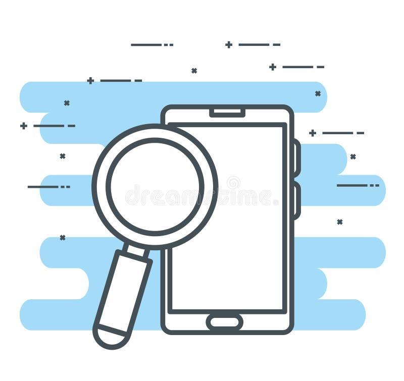 Smartphone apparat med förstoringsglaset stock illustrationer