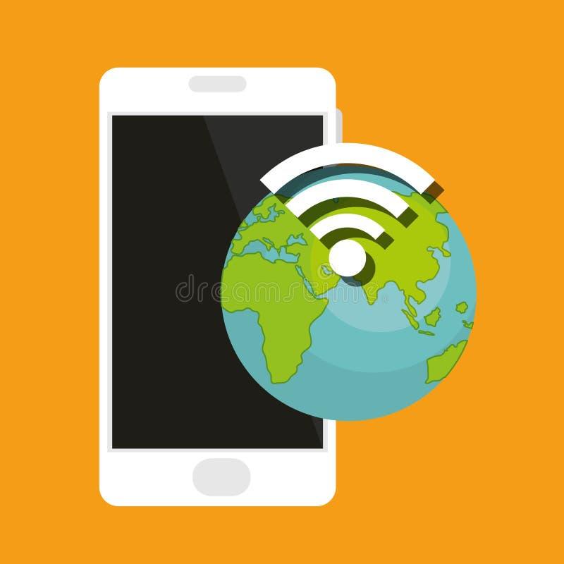 Smartphone apparat med jord- och wifisignalen royaltyfri illustrationer