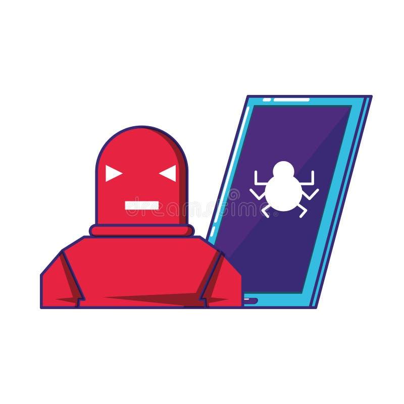 Smartphone apparat med roboten vektor illustrationer