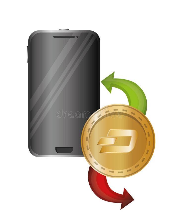 Smartphone apparat med strecket stock illustrationer
