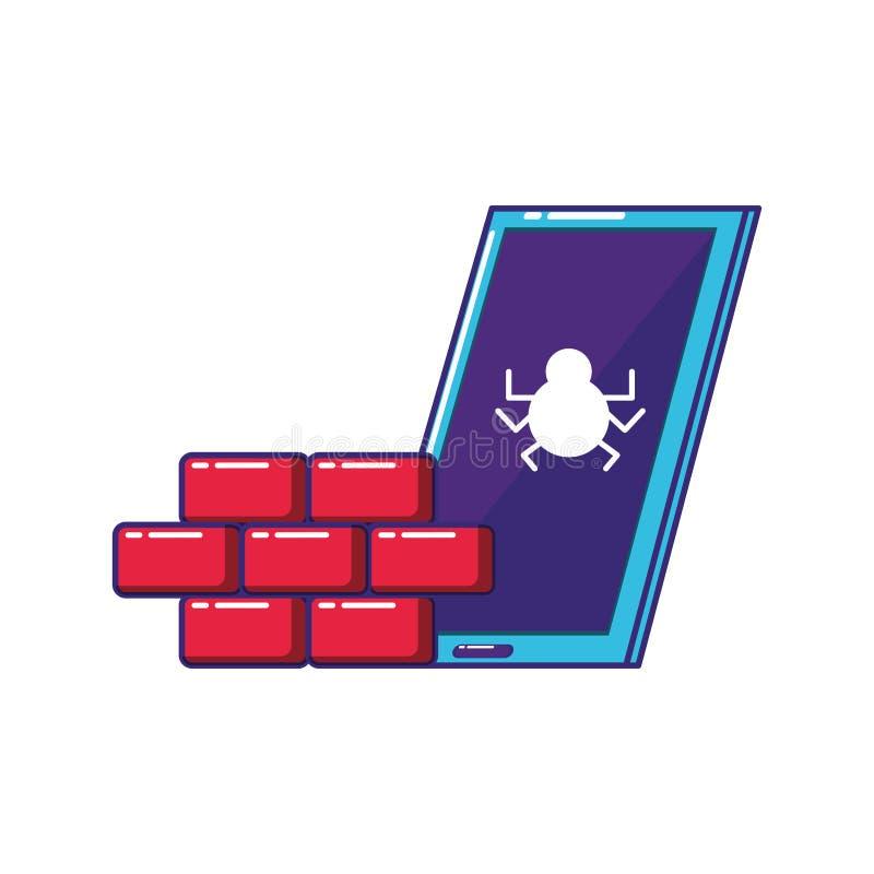 Smartphone apparat med väggen vektor illustrationer