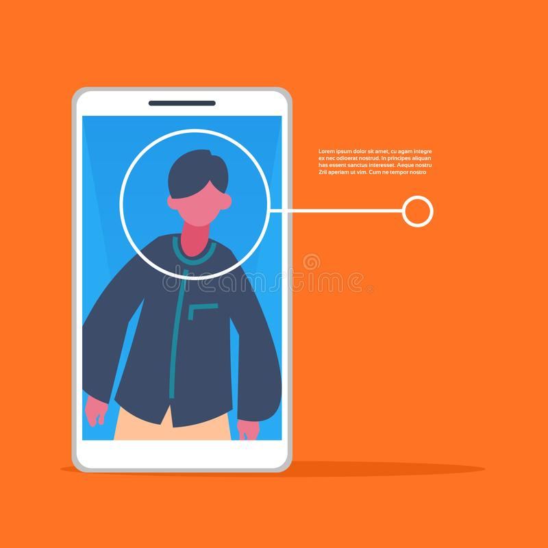 Smartphone application man face identification authorization isometric copy space flat. Vector illustration vector illustration