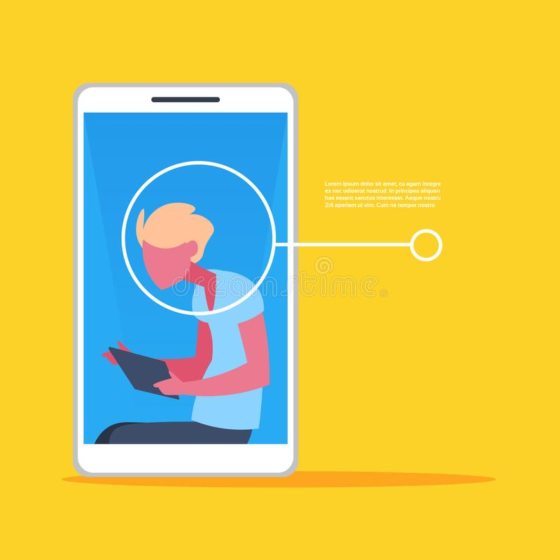 Smartphone application man face identification authorization isometric copy space flat. Vector illustration royalty free illustration