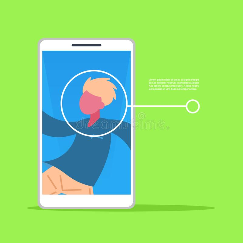 Smartphone application man face identification authorization isometric copy space flat. Vector illustration stock illustration