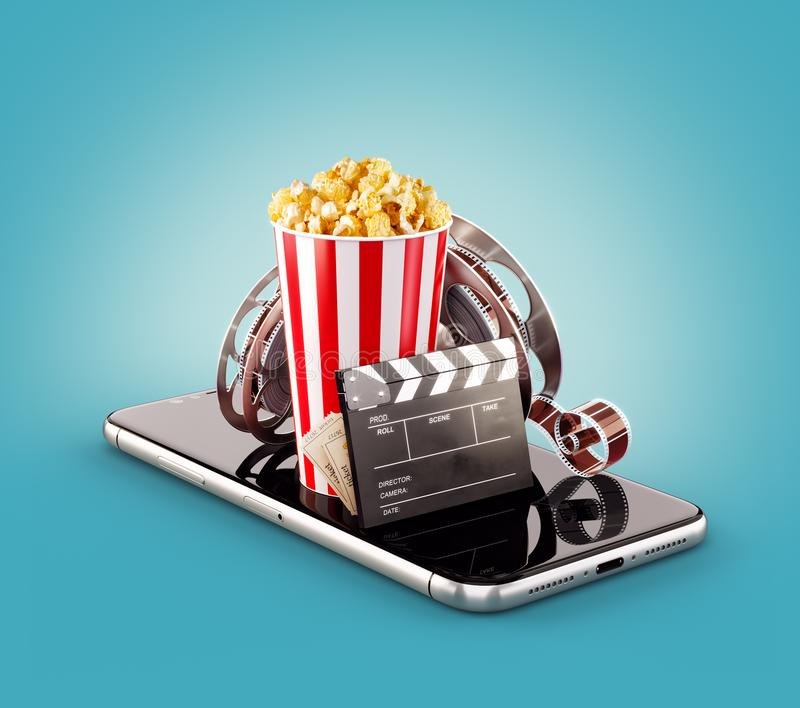 Smartphone application for online buying and booking cinema tickets. Live watching movies and video. royalty free illustration