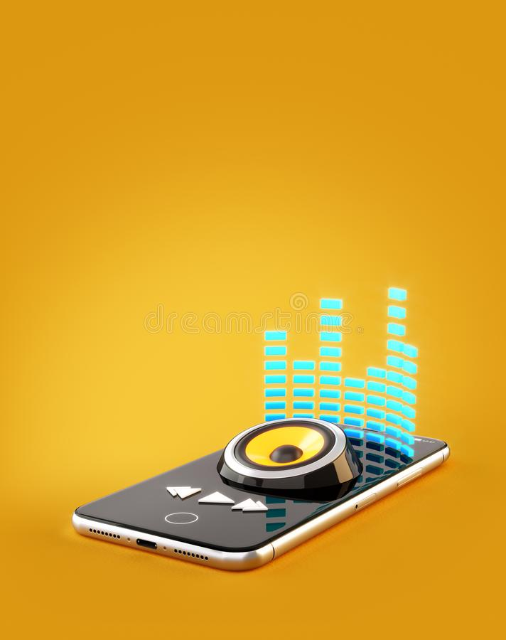 Smartphone application for online buying, downloading and listening to music. vector illustration