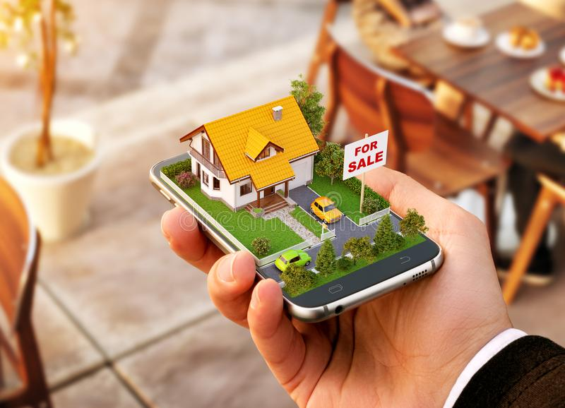 Smartphone application for online searching, buying, selling and booking real estate. Unusual 3D illustration of beautiful house on smartphone in hand royalty free stock photography