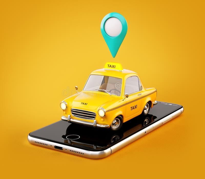 Smartphone application of taxi service for online searching calling and booking a cab. royalty free illustration