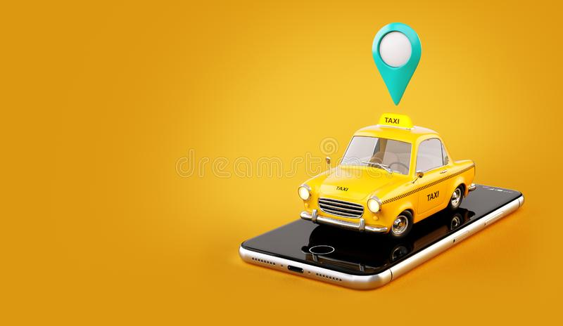 Smartphone application of taxi service for online searching calling and booking a cab. stock illustration