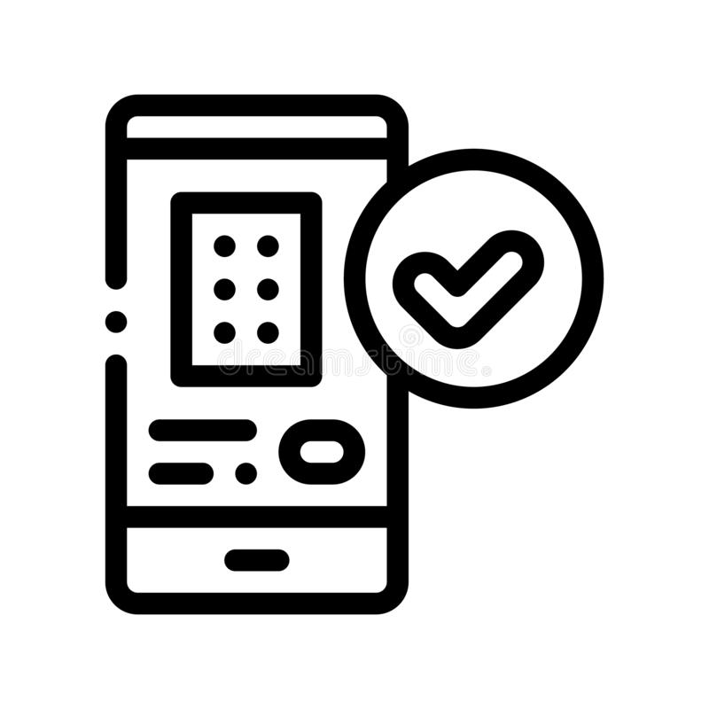 Smartphone Application Vector Thin Line Sign Icon. Mobile Application App On Phone Display For Hotel Room Apartment Reservation Linear Pictogram. Hostel Items vector illustration