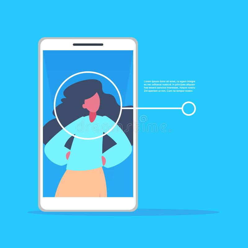 Smartphone application woman face identification authorization isometric copy space blue background flat. Vector illustration stock illustration