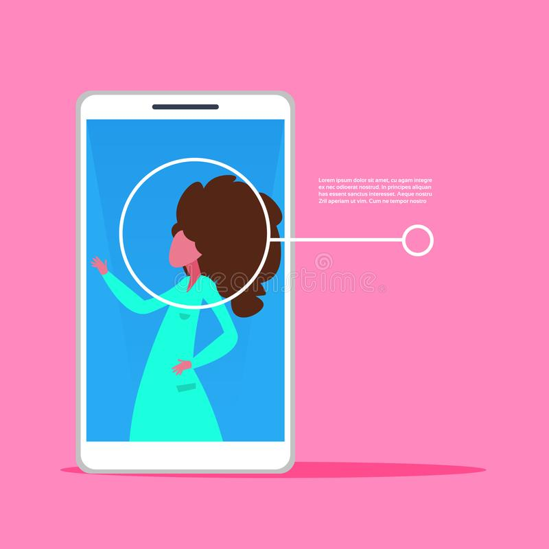Smartphone application woman face identification authorization isometric copy space pink background flat stock illustration
