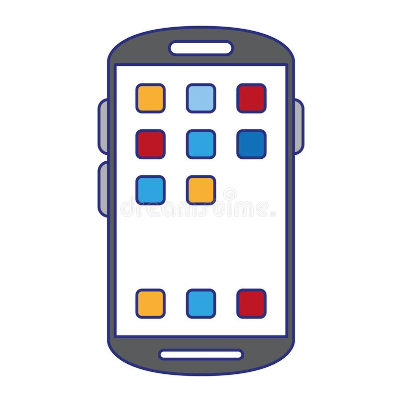 Smartphone with applications menu symbol. Vector illustration graphic design royalty free illustration