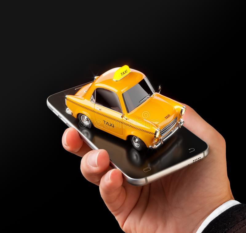 Smartphone applikation av taxiservice för online-sökande kalla och boka en taxi royaltyfria foton