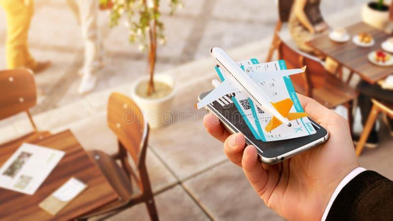Smartphone applikation f?r online-s?kande-, k?pa och bokaflyg p? internet Online-incheckning royaltyfri foto
