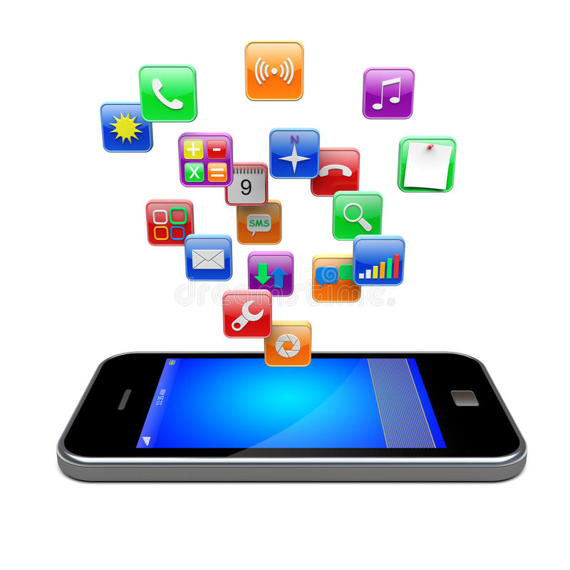 Smartphone apps图标 向量例证