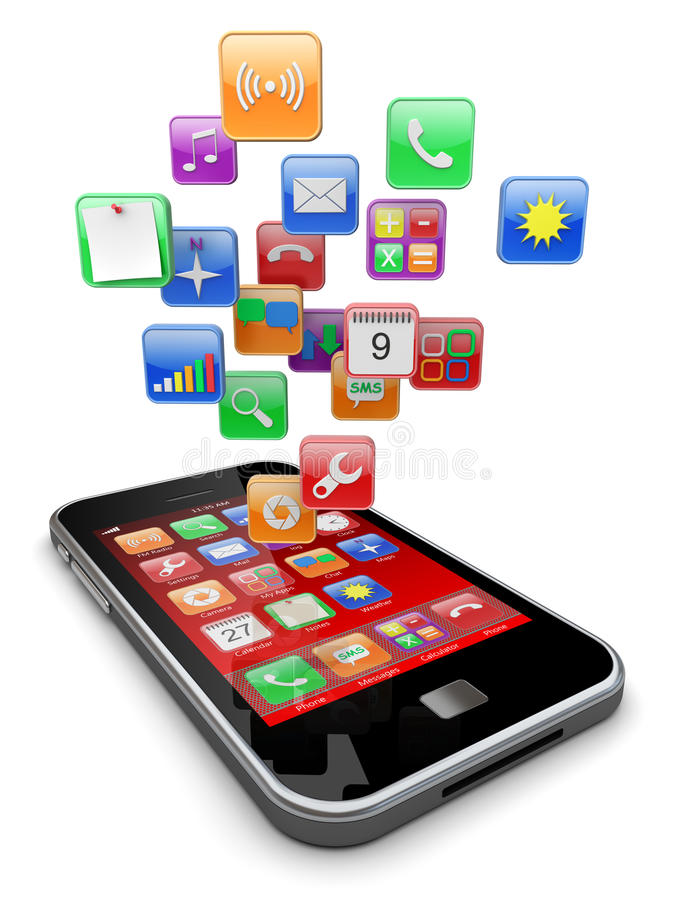 Smartphone apps图标 皇族释放例证