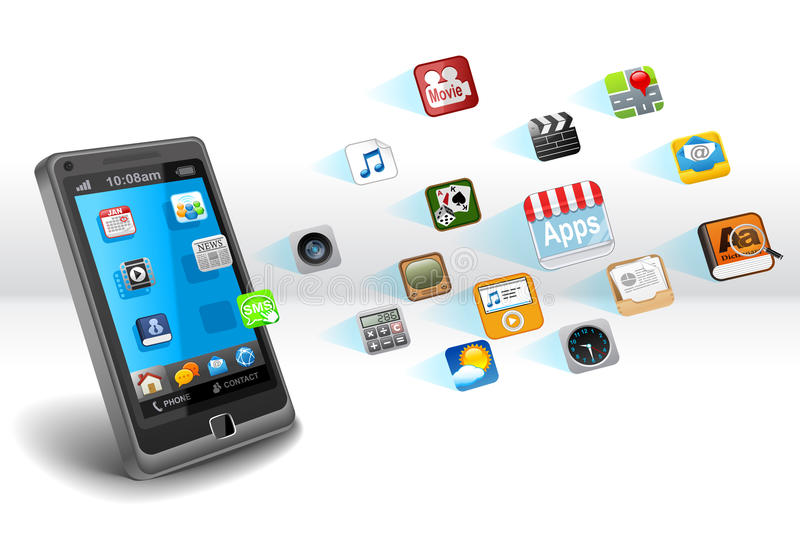 Smartphone with apps. Smartphone with applications on white background