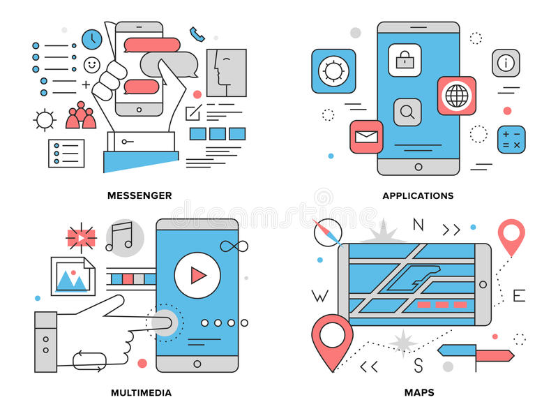 Smartphone apps flat line illustration. Flat line illustration set of various smartphone apps, mobile gps mapping navigation, phone chat messenger, multimedia royalty free illustration