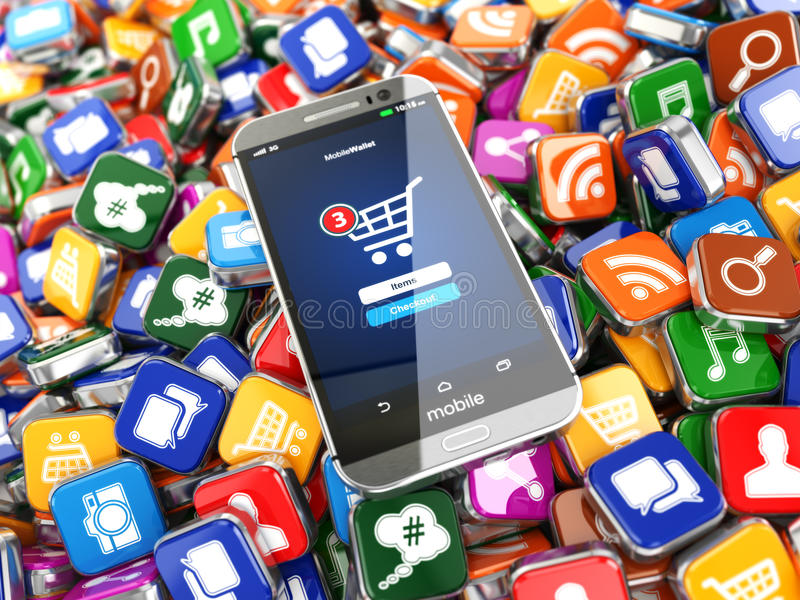 Smartphone apps. Mobile phone on the application software icons. Background. 3d stock illustration