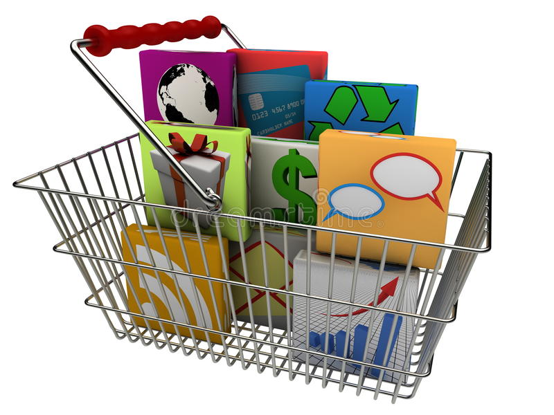 Smartphone apps in shopping basket royalty free illustration