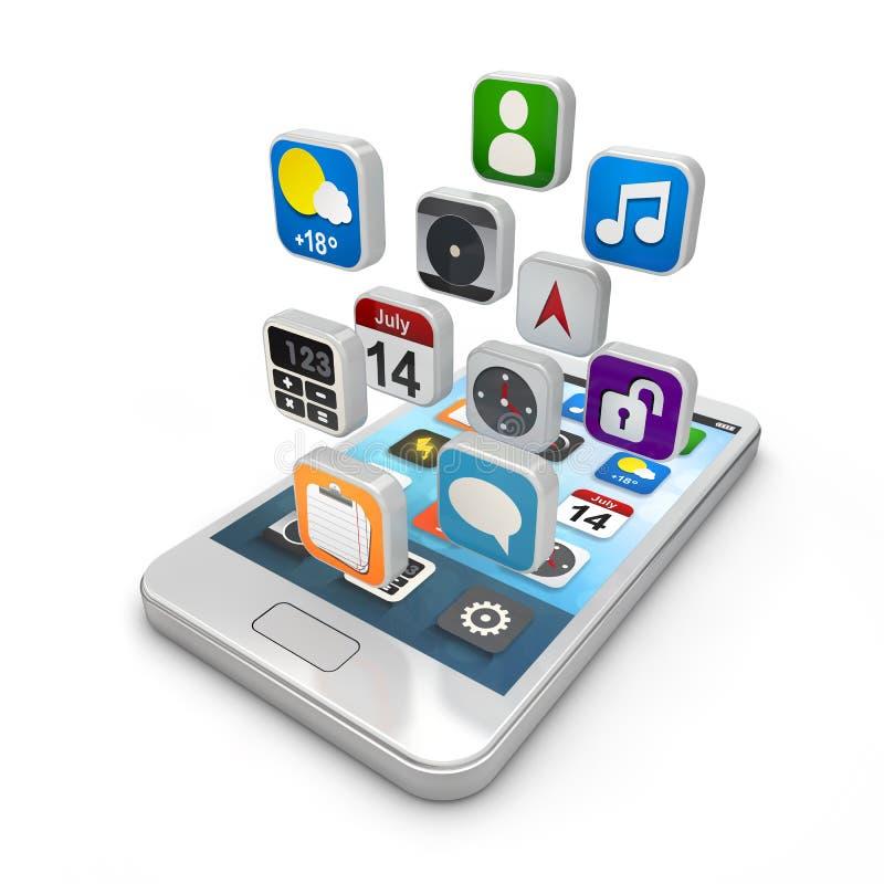 Smartphone apps, touchscreen smartphone met appli vector illustratie