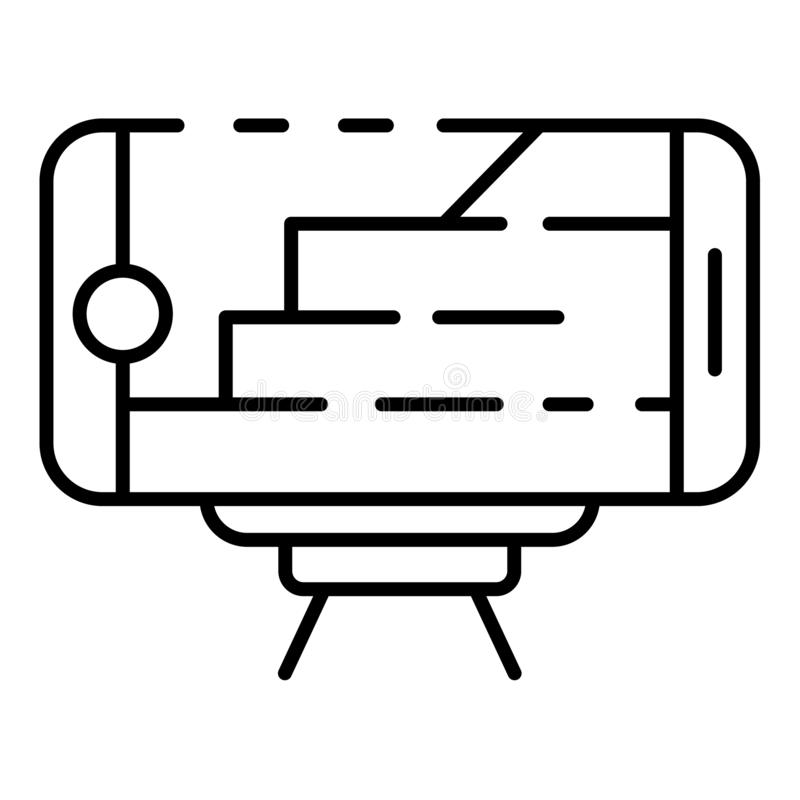 Smartphone architecture plan icon, outline style vector illustration