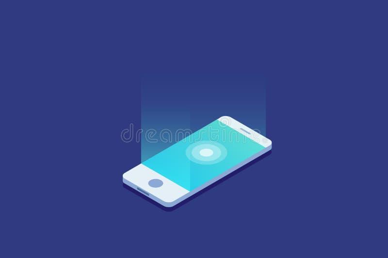 Smartphone Artilugio de Digitaces El teléfono móvil de la pantalla táctil brilla intensamente ilustración del vector