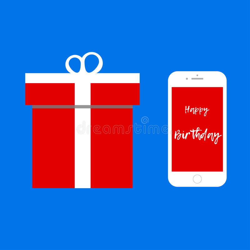 Smartphone as gift / Happy Birthday message vector illustration