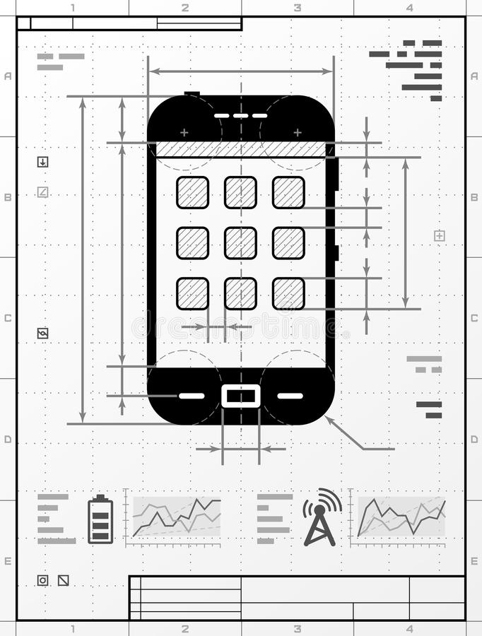 smartphone as technical drawing stock vector
