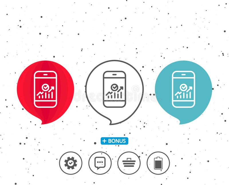 Smartphone Audit or Statistics line icon. Speech bubbles with symbol. Smartphone Audit or Statistics line icon. Business Analytics with charts symbol. Bonus vector illustration