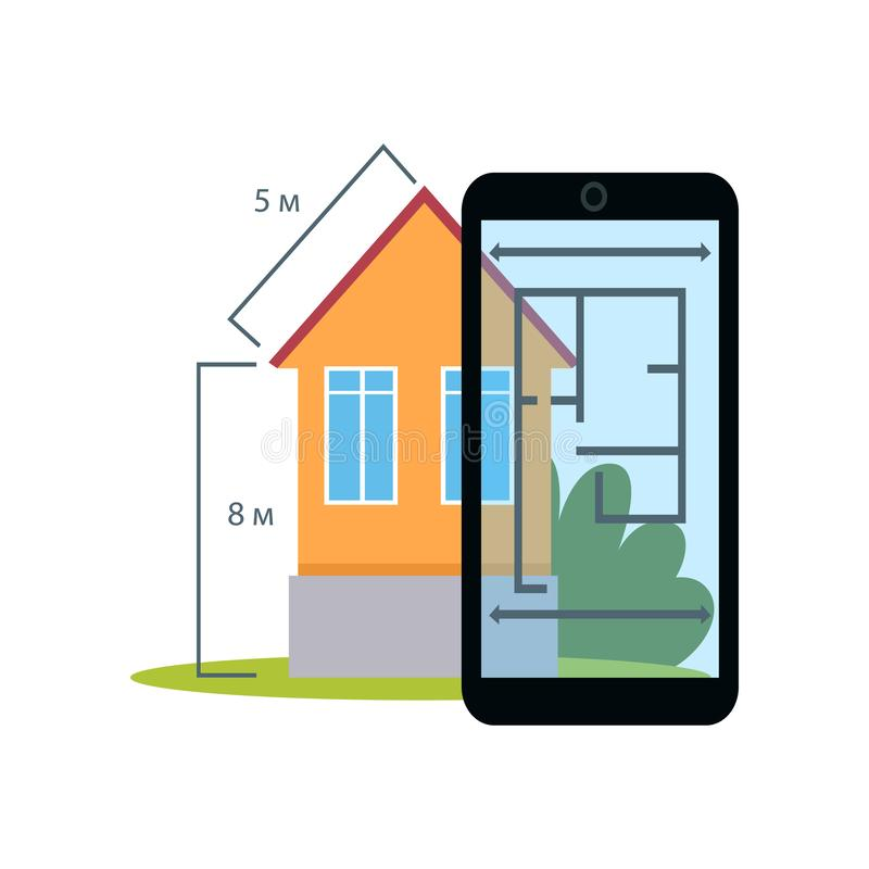 Smartphone aument? la medida de los realitys show del hogar del pueblo stock de ilustración
