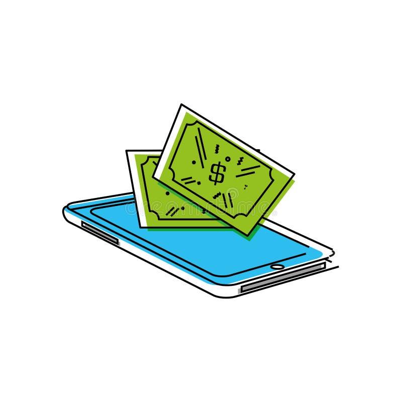 Smartphone avec des dollars de factures illustration libre de droits