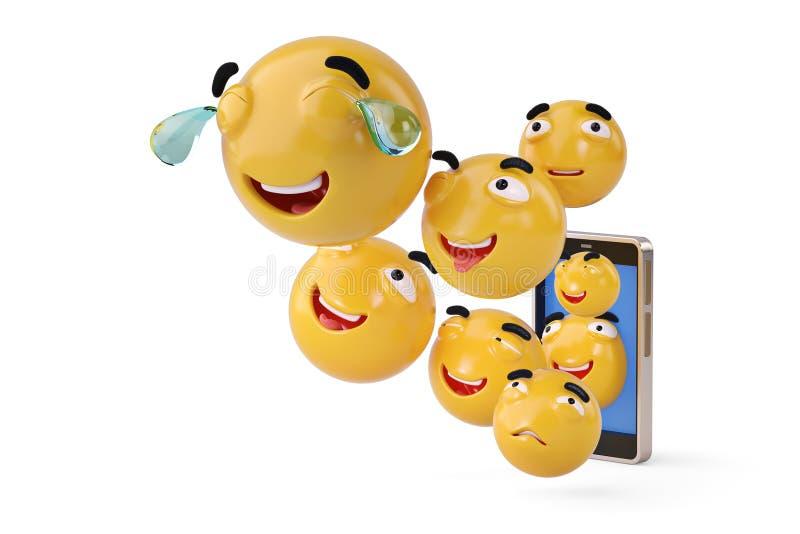 Smartphone avec des icônes d'Emoji illustration 3D illustration stock